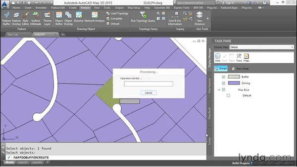 Working with buffer analysis: AutoCAD Map 3D Essential Training