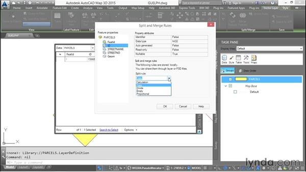 Splitting GIS data: AutoCAD Map 3D Essential Training