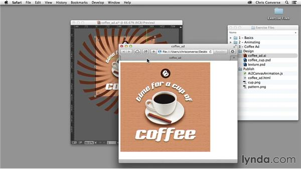 Setting the background animation and crop: Design the Web: Illustrator to Animated HTML5 Canvas