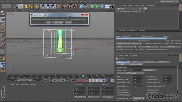 Starting the simulation: TurbulenceFD for CINEMA 4D Essential Training