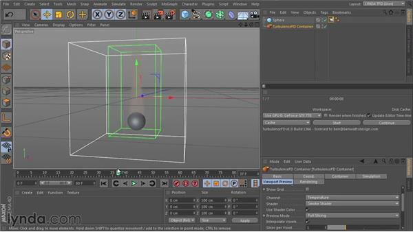 Checking your simulation results in the viewport: TurbulenceFD for CINEMA 4D Essential Training