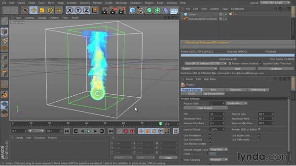 Starting and stopping the simulation: TurbulenceFD for CINEMA 4D Essential Training