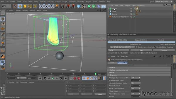 Placing an emitter in the container: TurbulenceFD for CINEMA 4D Essential Training