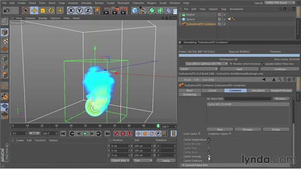 Affecting particle motion with Velocity: TurbulenceFD for CINEMA 4D Essential Training