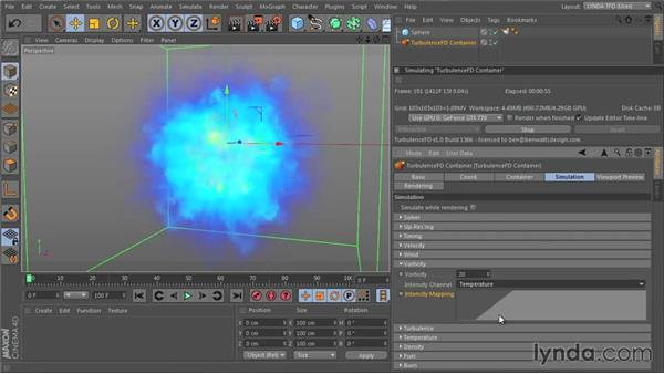 Adding detail and small curls with Vorticity: TurbulenceFD for CINEMA 4D Essential Training