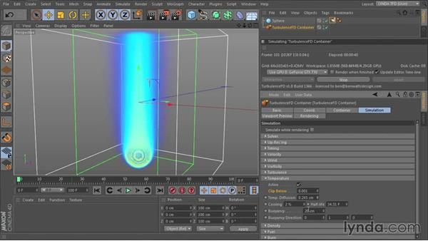 Influencing the simulation with the Temperature channel: TurbulenceFD for CINEMA 4D Essential Training