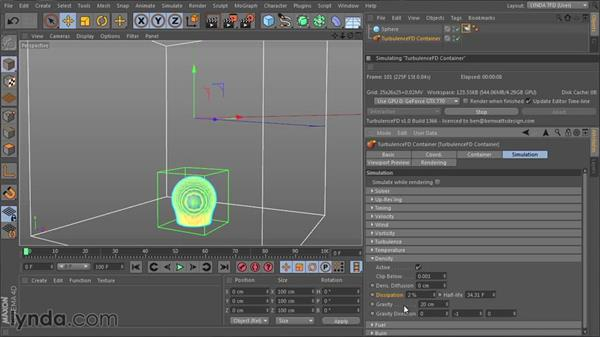 Influencing the simulation with the Density channel: TurbulenceFD for CINEMA 4D Essential Training