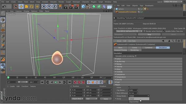 Adding decay to the simulation with the Burn channel: TurbulenceFD for CINEMA 4D Essential Training