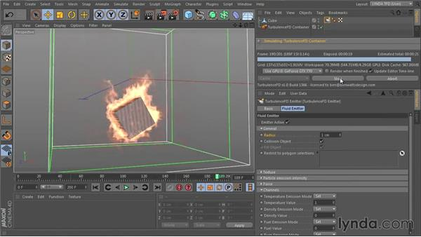 Setting up the emitter size: TurbulenceFD for CINEMA 4D Essential Training