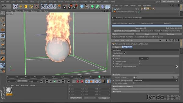 Emitting from textures and vertex maps: TurbulenceFD for CINEMA 4D Essential Training