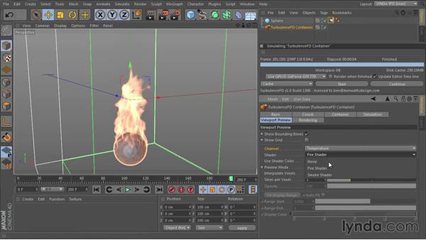 Previewing fire and smoke together with the Preview Fluid Container window: TurbulenceFD for CINEMA 4D Essential Training