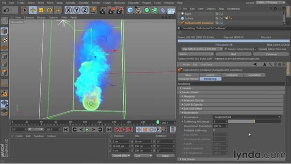 Developing the look of smoke with the Smoke shader: Part three: TurbulenceFD for CINEMA 4D Essential Training