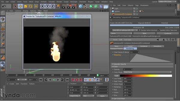 Developing the look of fire with the Fire shader: TurbulenceFD for CINEMA 4D Essential Training