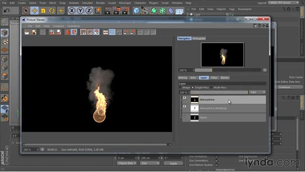 Rendering out TurbulenceFD passes: TurbulenceFD for CINEMA 4D Essential Training