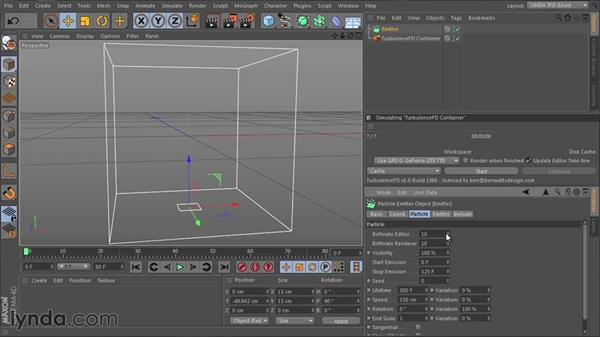 Setting up the emitters: TurbulenceFD for CINEMA 4D Essential Training