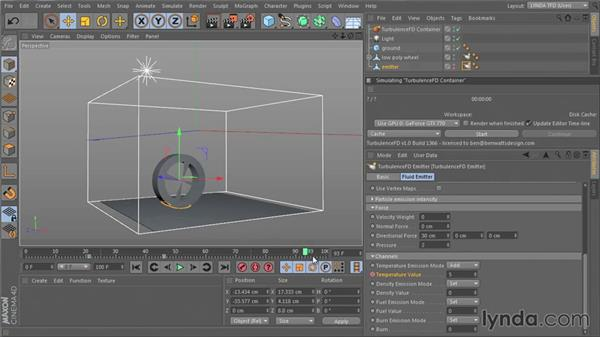Preparing emitter and channel setup: TurbulenceFD for CINEMA 4D Essential Training