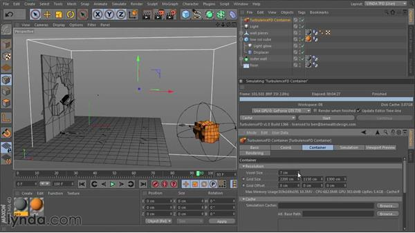 Setting up the container properties: TurbulenceFD for CINEMA 4D Essential Training