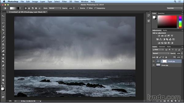 Blending images using layer masks and the Gradient tool: Introduction to Photo Compositing
