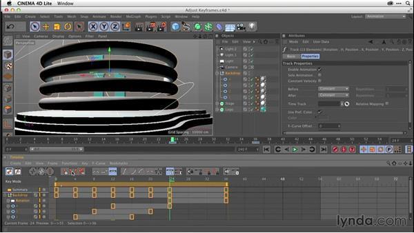 Adjusting keyframes in CINEMA 4D Lite (CC 2014.1): After Effects CC Essential Training