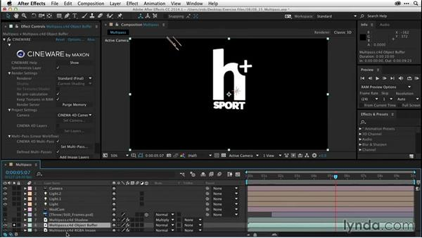 Render settings and the multipass workflow (CC 2014.1): After Effects CC Essential Training