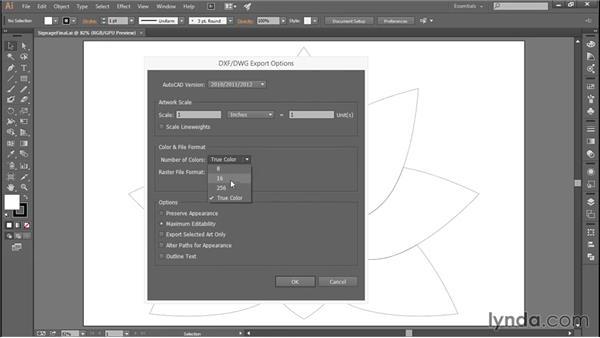 Adobe Illustrator export dialog options: Adobe Illustrator: Working with AutoCAD Files