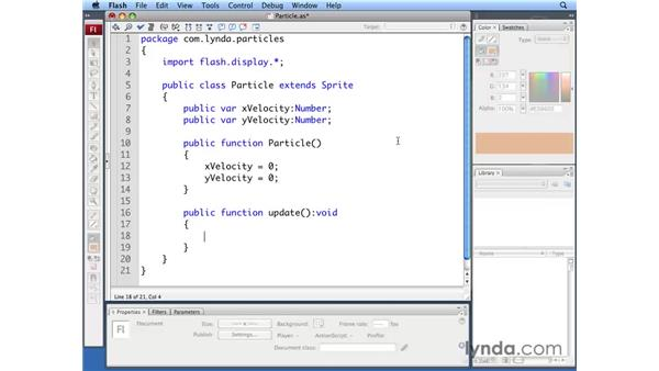 Creating particle velocity: ActionScript 3.0: Building Particle Systems