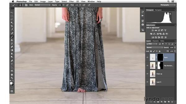 Patching in a gap in the dress: Portrait Project: Enhancing an Environmental Portrait of a Model