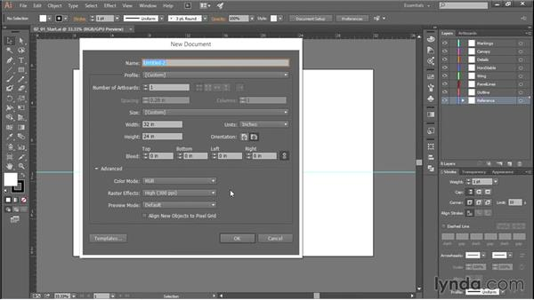 Creating a new Illustrator document with layers: Creating Aircraft Profiles with Adobe Illustrator and Photoshop
