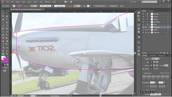 Drawing separate aircraft sections: Creating Aircraft Profiles with Adobe Illustrator and Photoshop