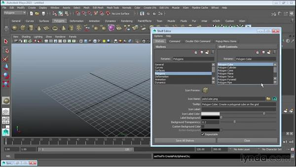 Managing shelves and shelf buttons: Up and Running with MEL Scripting in Maya