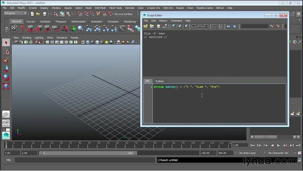 Creating arrays: Up and Running with MEL Scripting in Maya