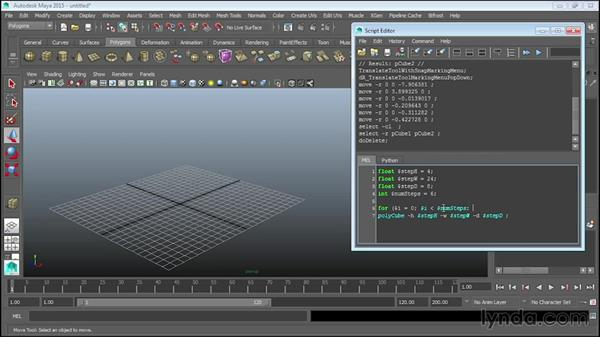 Using loops to create a staircase: Up and Running with MEL Scripting in Maya