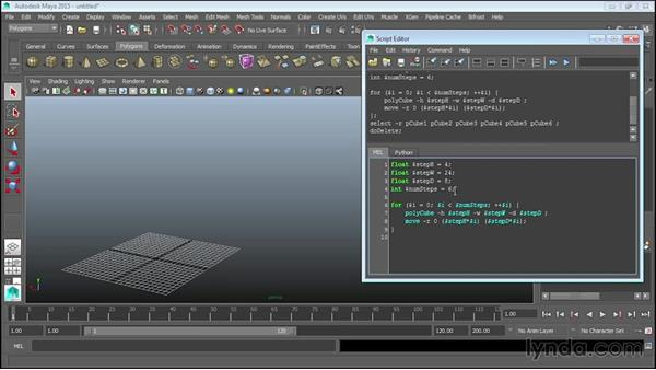 Using trigonometric functions to create railing: Up and Running with MEL Scripting in Maya