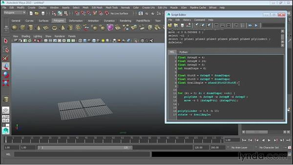 Calculating railing length: Up and Running with MEL Scripting in Maya