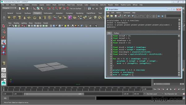 Using math functions to position railing: Up and Running with MEL Scripting in Maya