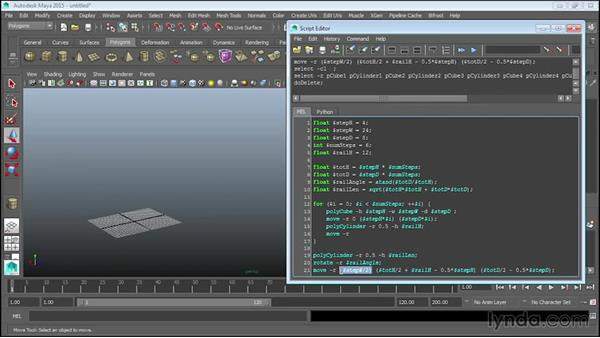 Adding balusters: Up and Running with MEL Scripting in Maya