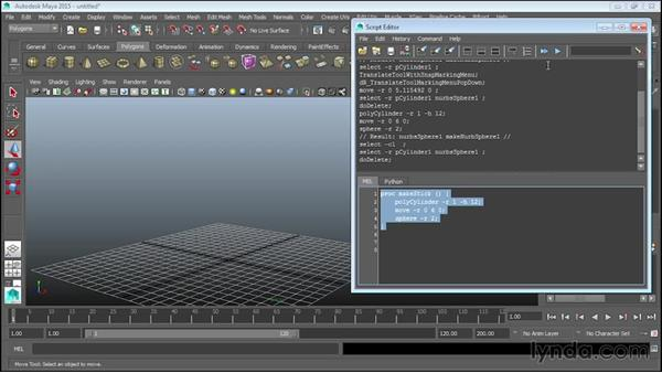 Creating procedures: Up and Running with MEL Scripting in Maya