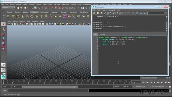 Creating global procedures: Up and Running with MEL Scripting in Maya