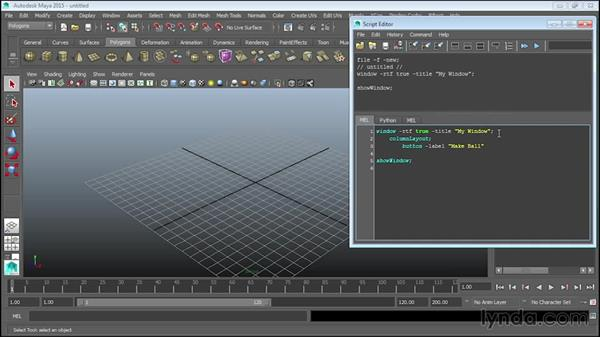 Creating interfaces with buttons: Up and Running with MEL Scripting in Maya