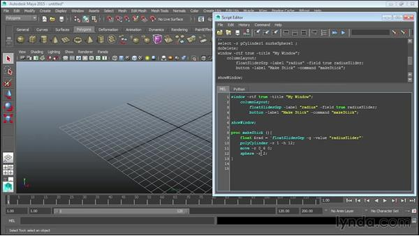 Adding sliders: Up and Running with MEL Scripting in Maya