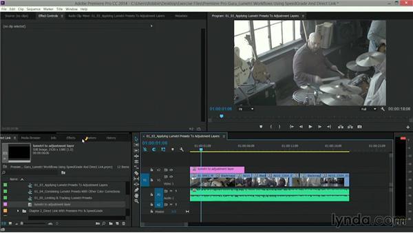 Applying Lumetri look presets to adjustment layers: Premiere Pro Guru: Lumetri Workflows using SpeedGrade and Direct Link