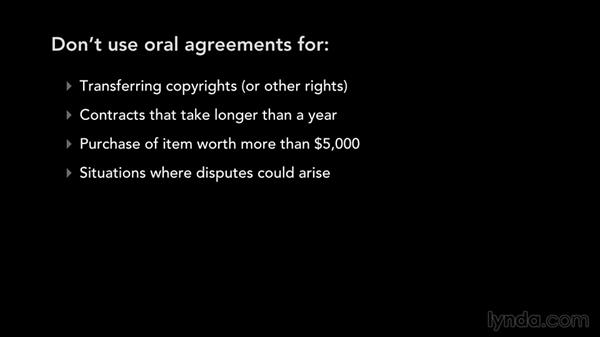 Oral agreements and record keeping: Music Law: Recording, Management, Rights, and Performance Contracts