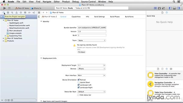 Creating the Xcode project: Building a Note-Taking App for iOS 8