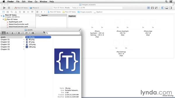 Applying an app icon: Building a Note-Taking App for iOS 8
