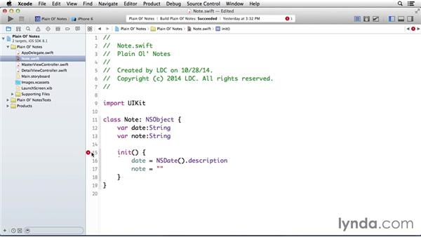 Creating a note class: Building a Note-Taking App for iOS 8
