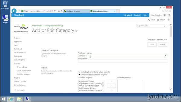 Managing categories: Microsoft Project Server 2013 Administration