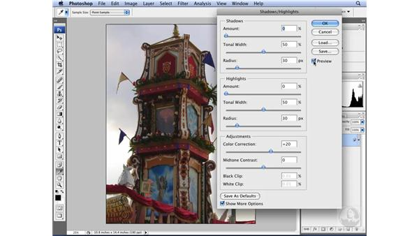 Applying a Shadow/Highlight adjustment: Photoshop CS3 for Designers