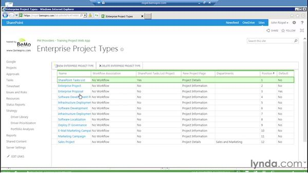 Working with enterprise project types: Microsoft Project Server 2013 Administration