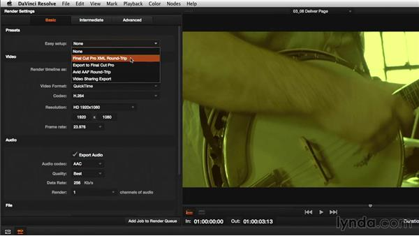 Digging deeper: The Deliver page: DaVinci Resolve 11 Essential Training