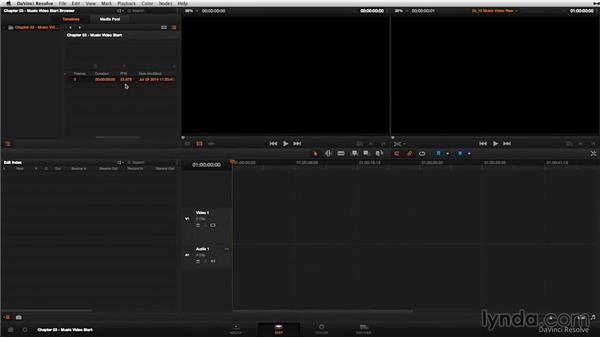 The music video: Creating the timeline: DaVinci Resolve 11 Essential Training